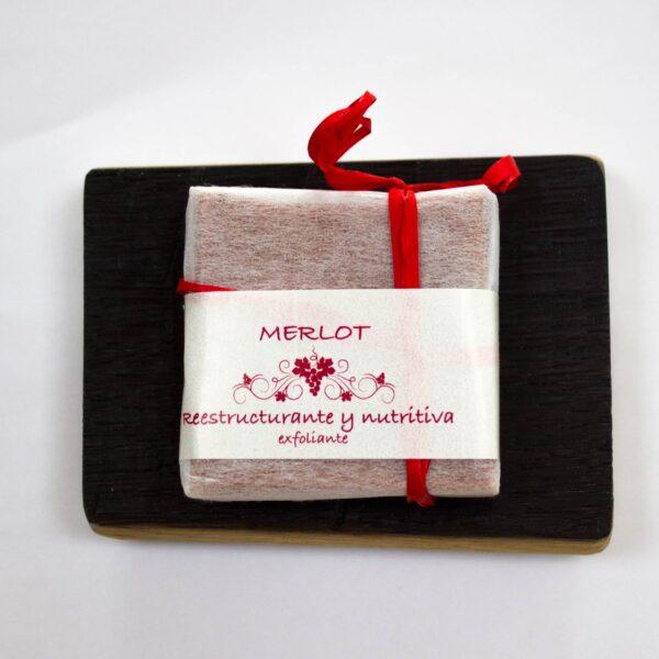 Jabonera de duela con jabón exfoliante de vino Merlot